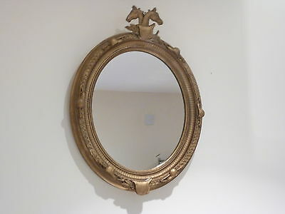 Small Vintage Horse Racing Theme Gilt Framed Oval Mirror