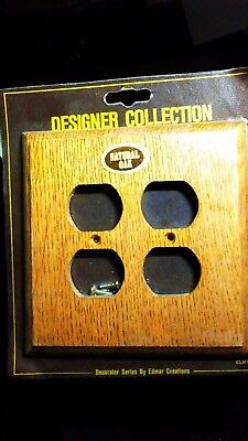 (2) Natural Oak  Wood Single Duo Outlet Cover Wall Plate Vintage Edmar Creations