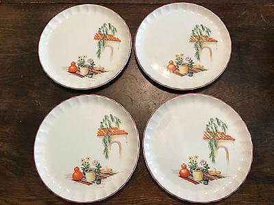 Excellent 1940s 50s W.S George BOLERO GRACIA China Dinner Lunch Plate Set of 4