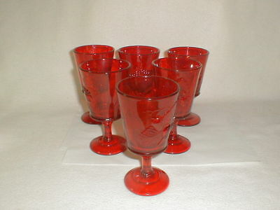 Ruby glass Red Strawberry and Current Stemmed Water Goblet Set 6 pcs L G Wright