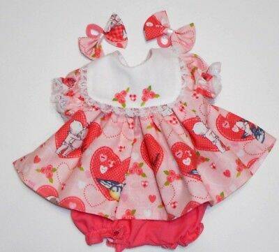 "Cabbage Patch Doll Clothes: Fit 16""doll:peach Kewpie Print Dress Set- 4Pc"
