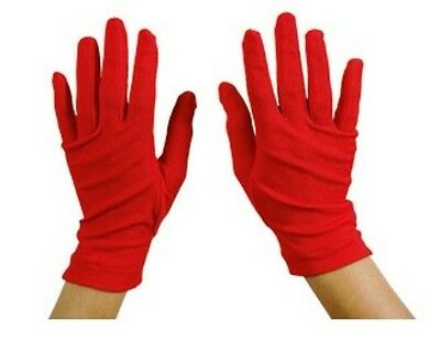 Carnevale Halloween Guanti Corti Rossii Mago Clown Red Gloves Adult