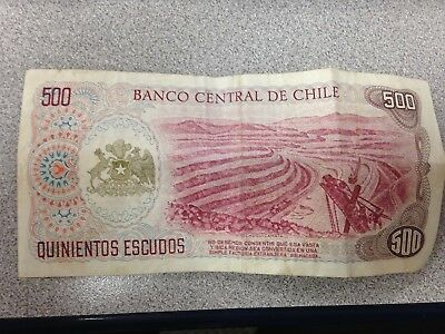 500 Escudos - Former Currency from Chile - 1975 - Chilean Mines and Miners