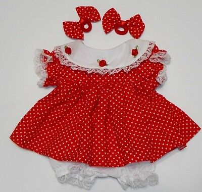 "Cabbage Patch Doll Clothes: Fit 16""doll:red /tiny Wht Hearts Dress Set- 4Pc"