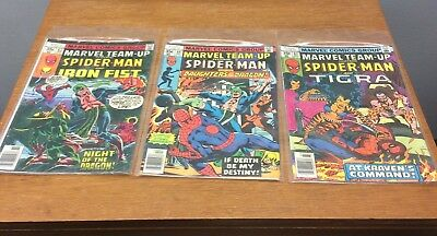 VINTAGE Marvel Team-Up Spider-Man Comic Book Lot (#63, #64, #67), Rare, VF Cond.