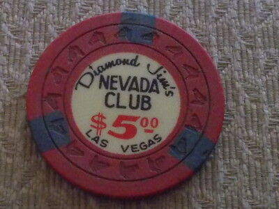 Diamond Jim's NEVADA CLUB Casino Hotel $5 casino gaming chip ~ Las Vegas, NV