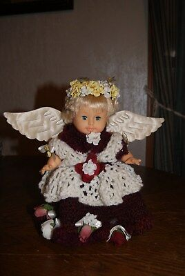 """1998 Citi Toy 6"""" Soft Vinyl Baby Doll Angel with Crocheted Gown"""