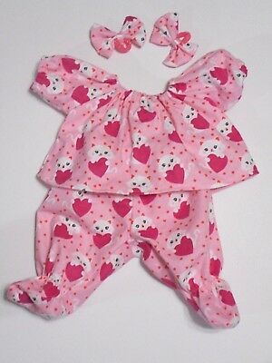 "Cabbage Patch Doll Clothes: Fit 16""doll:flnl Kittens/hearts Pj Set: 4Pc"