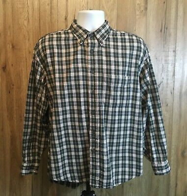 Mens Stunning Vintage Green Shirt Size L Cotton Check Button Flannel Long Sleeve