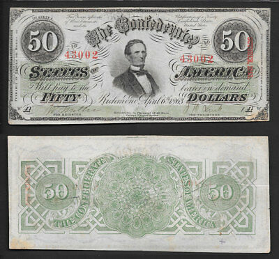 ">>Awesome<< High/grade $50 1863 ""confederate States Of America* T-57 Grn/back"