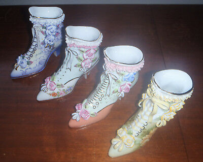 Lot 4 LIMOGES China Porcelain Victorian Shoe Vase Boot Hand Painted