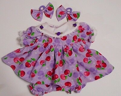 "Cabbage Patch Doll Clothes: Fit 16""doll: Lavender/pink Cherries Dress Set- 4Pc"