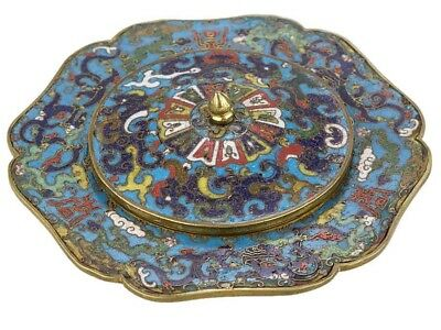 17th Century Chinese Cloisonné Enamel Lobed Bowl Lid