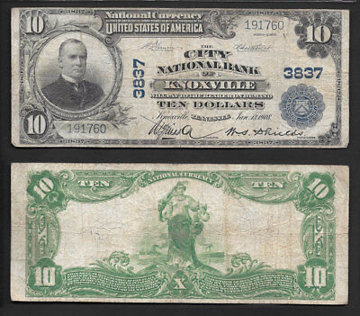 >Very Nice< $10 1902 National >Knoxville,tennessee< Ch#3837 Plain/back