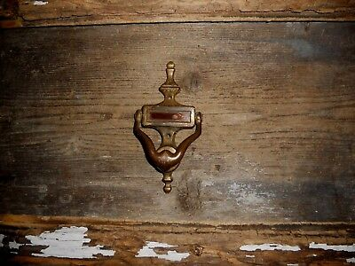 Vtg Antique Small Early American Colonial Brass Front Door Knocker Aged Patina