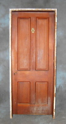 "Original Antique 4 Panel Pine Door in Jamb, 32"" x 80"" Vintage"