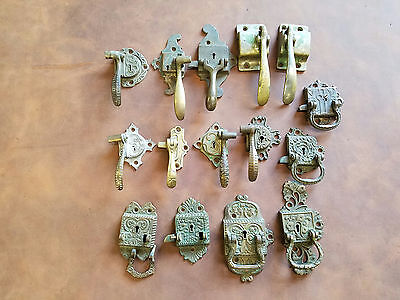 ANTIQUE ICEBOX HARDWARE DOOR HANDLES/LATCHES (Some Eastlake) LOT OF 15