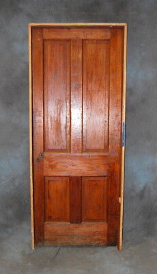 "Original Antique 4 Panel Pine Door in Jamb, Vintage 32"" x 80"" Door"