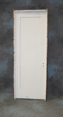 "Original Antique 1 Panel Pine Painted Door in Jamb, 30"" x 84"" Vintage"