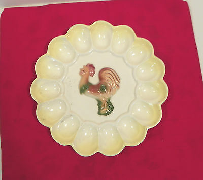 Decorative Platter Vintage Italian Style Ceramic with Raised Rooster Egg Plate