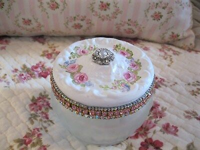 Shabby Chic Hand Painted Roses - Vintage Estee Lauder Cosmetic Jar - White