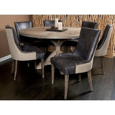Padma's Plantation Round Salvaged Wood Dining Table & 6 Sanibel Chairs Was $2749