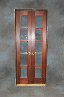 "Original Vintage 10 Lite Pine Beveled Glass French Doors in Jamb, 16"" x 80"""