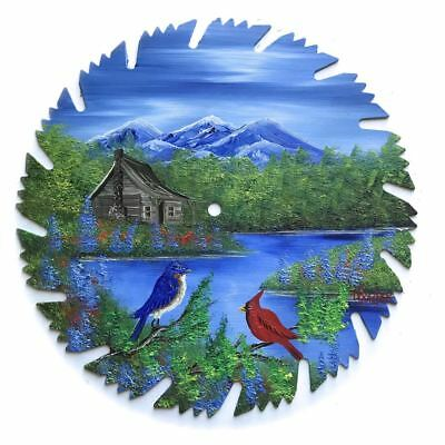 Hand Painted Saw Blade Art  Mountain Summer Log Cabin and Cardinal Blue Bird