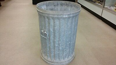 LARGE HEAVY Vintage TRASH CAN Industrial Galvanized Metal Witt Cornice Co. 1920s