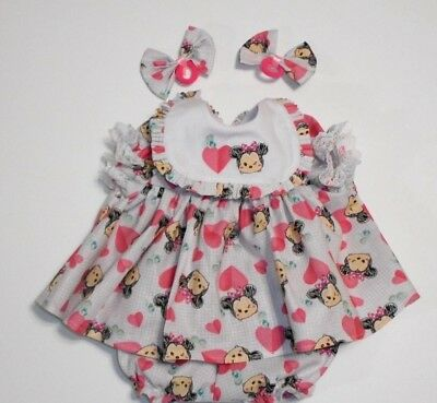 "Cabbage Patch Doll Clothes: Fit 16""doll:minnie Mouse Print Dress Set- 4Pc"