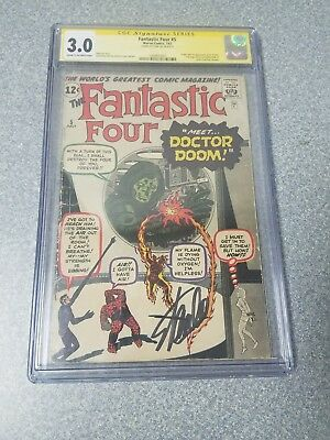 Fantastic Four #5 1st Appearance of Doctor Doom CGC SS 3.0 Signed by Stan Lee