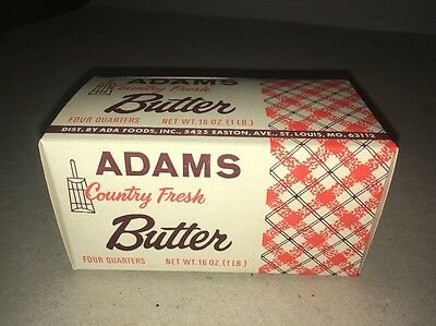 Unused ADAMS 1 Lb Butter box country store dairy Creamery ST LOUIS MISSOURI 1960