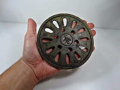 Antique Cast Iron Old Stove Pipe Flue Cover Grate Ventilator Marked
