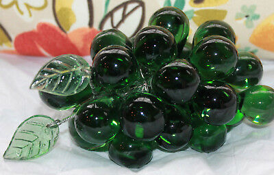 """Vintage MURANO Italy GREEN Grapes  Hand Blown Italian Glass Fruit on Wire 5 1/2"""""""