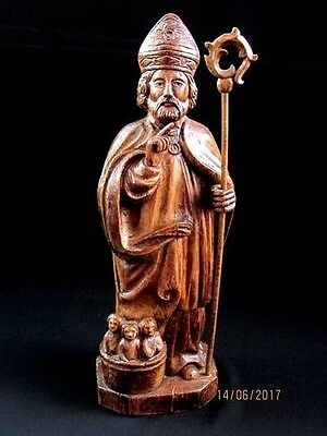 """Antique French SAINT NICOLAS 16"""" Tall HandCarved WOOD Figure Circa 1700s. 18th.C"""