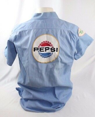 RARE Vintage 1960s Say Pepsi Please Blue Uniform Shirt w/ TEEM PATCH Size ML