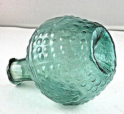 "Antiquity Ancient Roman Turquoise Glass Vessel Indented Bottom 5-1/2"" Tall"
