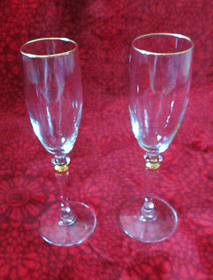 Pair Of Stunning Glass Beveled Champagne Flutes Clear With Gold