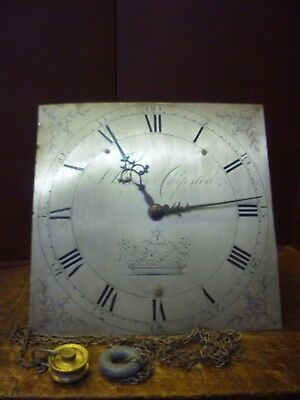 Good 18th Century Grandfather Clock Birdcage Movement+Silvered Dial