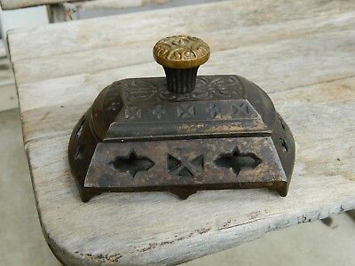 Antique Fancy Victorian Cast Iron Match Safe Holder Box with Striker Lid