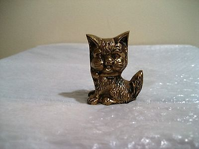 vintage solid brass kitten 2.5 inches tall 6.6 ounces