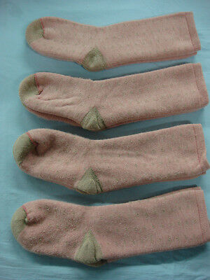 NWOT Girls Merino Wool Blend Socks 7-9 Pink/Tan 4 pair