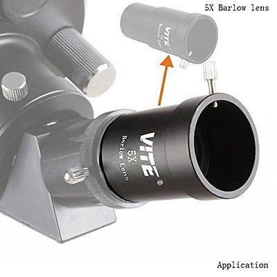 """1.25""""(31.7mm) 5X Magnification Barlow Lens Metal for Telescope Eyepieces US Ship"""