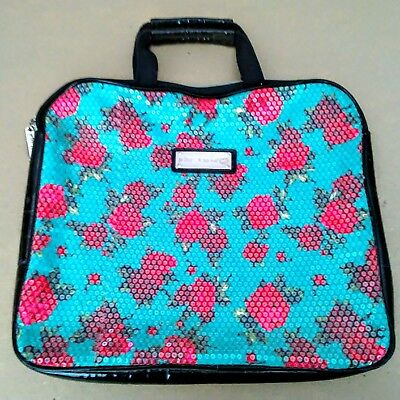 Betsey Johnson Turquoise Blue Laptop Bag with Roses and Sequins FREE SHIPPING