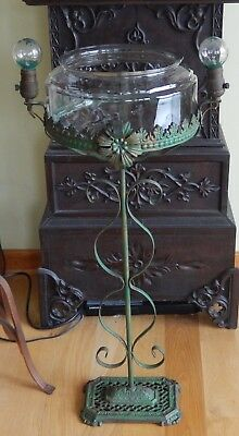 Ornate Vintage Floor Model Fish Terrarium Bowl & Lighted Stand~Multi Metals