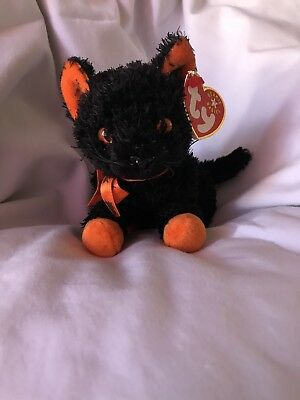 Halloween Ty Beanie Baby Fraidy Cat 2001 Plush Orange and Black Collectible