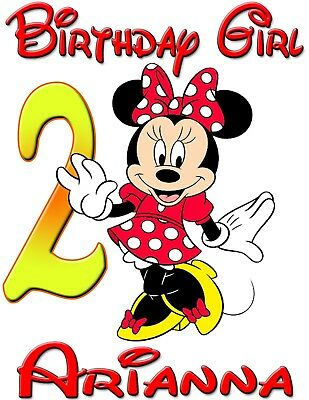 Personalized Custom Minnie Mickey Mouse Birthday Shirt for Family Party -Red Min