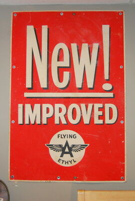 Original Antique Flying A Ethyl Gas Station Cardboard Sign, Vintage Advertising