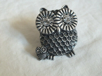 """Stunning Silver Tone Cocktail Ring Stretch Mom Baby Owl Rhinestones 1 1/2"""" Face"""