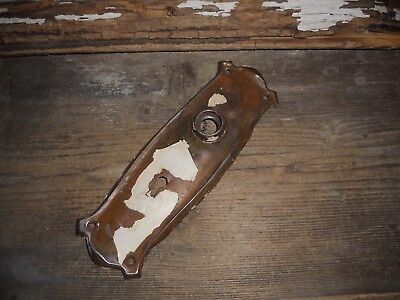 Vtg Old White Shabby Chippy Rustic Mission Gothic Door Knob Back Plate Art/craft